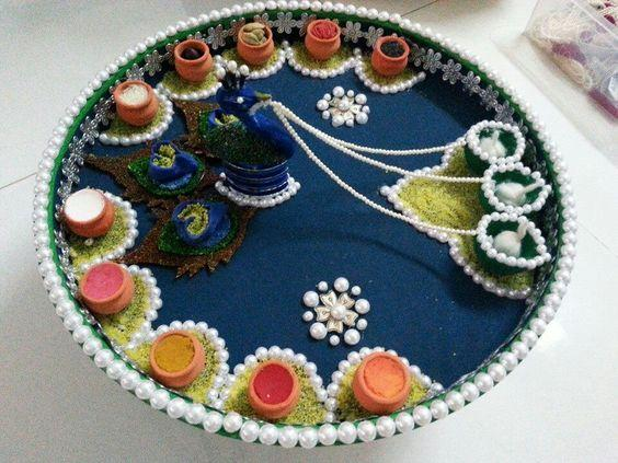 Aarti thali decoration for Aarti thali decoration ideas for ganpati